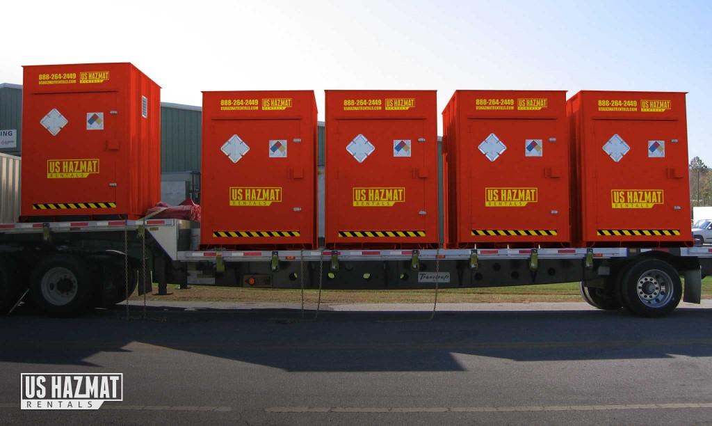 US HAZMAT Rentals Storage lockers on a trailer.